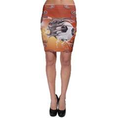 Soccer With Skull And Fire And Water Splash Bodycon Skirts