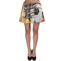 Soccer With Skull And Fire And Water Splash Skater Skirts