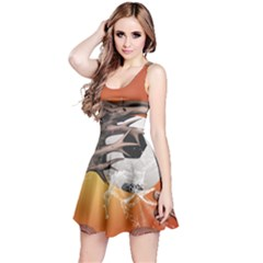 Soccer With Skull And Fire And Water Splash Reversible Sleeveless Dresses