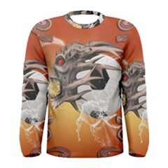 Soccer With Skull And Fire And Water Splash Men s Long Sleeve T-shirts