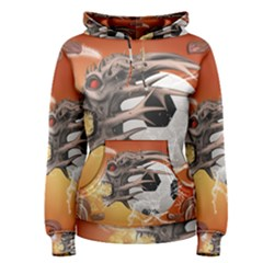 Soccer With Skull And Fire And Water Splash Women s Pullover Hoodies