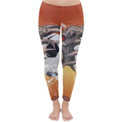 Soccer With Skull And Fire And Water Splash Winter Leggings