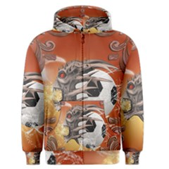 Soccer With Skull And Fire And Water Splash Men s Zipper Hoodies