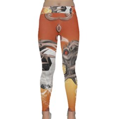Soccer With Skull And Fire And Water Splash Yoga Leggings
