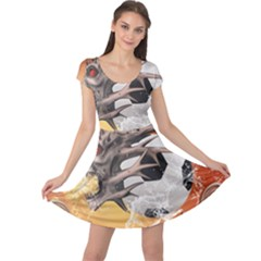 Soccer With Skull And Fire And Water Splash Cap Sleeve Dresses