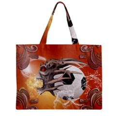 Soccer With Skull And Fire And Water Splash Zipper Tiny Tote Bags