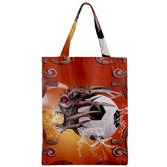 Soccer With Skull And Fire And Water Splash Zipper Classic Tote Bags