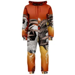 Soccer With Skull And Fire And Water Splash Hooded Jumpsuit (ladies)