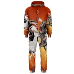 Soccer With Skull And Fire And Water Splash Hooded Jumpsuit (Men)