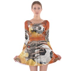 Soccer With Skull And Fire And Water Splash Long Sleeve Skater Dress