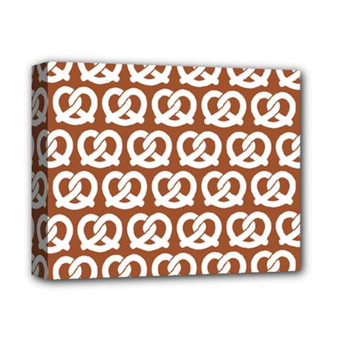 Brown Pretzel Illustrations Pattern Deluxe Canvas 14  x 11