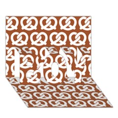 Brown Pretzel Illustrations Pattern Boy 3d Greeting Card (7x5)