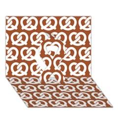 Brown Pretzel Illustrations Pattern Ribbon 3D Greeting Card (7x5)