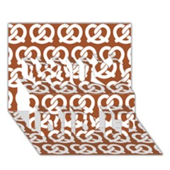 Brown Pretzel Illustrations Pattern You Did It 3D Greeting Card (7x5)