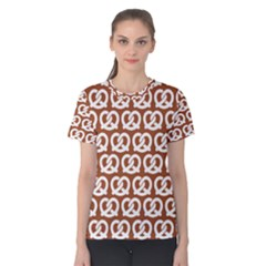 Brown Pretzel Illustrations Pattern Women s Cotton Tees