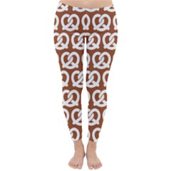 Brown Pretzel Illustrations Pattern Winter Leggings