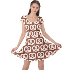 Brown Pretzel Illustrations Pattern Cap Sleeve Dresses