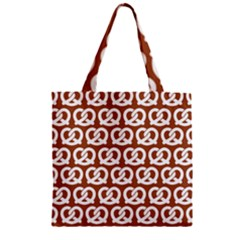 Brown Pretzel Illustrations Pattern Zipper Grocery Tote Bags