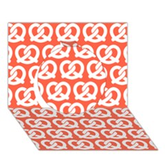 Coral Pretzel Illustrations Pattern Circle 3D Greeting Card (7x5)