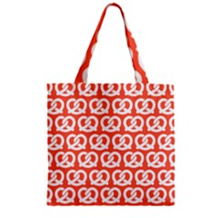Coral Pretzel Illustrations Pattern Zipper Grocery Tote Bags
