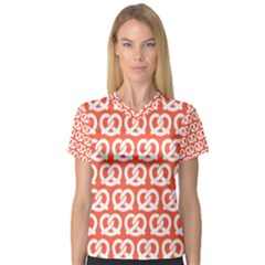 Coral Pretzel Illustrations Pattern Women s V-Neck Sport Mesh Tee