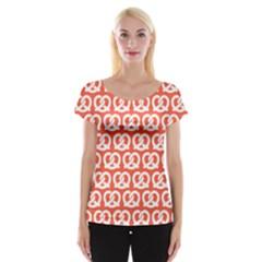 Coral Pretzel Illustrations Pattern Women s Cap Sleeve Top