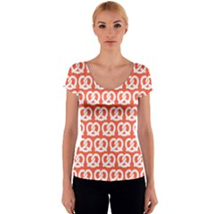 Coral Pretzel Illustrations Pattern Women s V-Neck Cap Sleeve Top