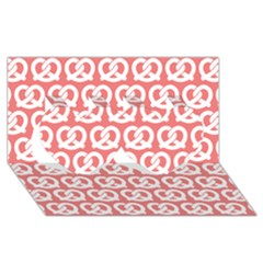 Chic Pretzel Illustrations Pattern Twin Hearts 3d Greeting Card (8x4)