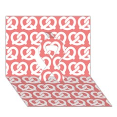 Chic Pretzel Illustrations Pattern Ribbon 3d Greeting Card (7x5)