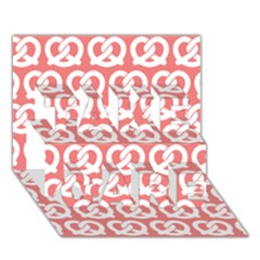 Chic Pretzel Illustrations Pattern TAKE CARE 3D Greeting Card (7x5)