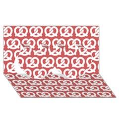 Trendy Pretzel Illustrations Pattern Twin Hearts 3d Greeting Card (8x4)