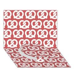 Trendy Pretzel Illustrations Pattern Circle Bottom 3D Greeting Card (7x5)