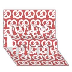 Trendy Pretzel Illustrations Pattern WORK HARD 3D Greeting Card (7x5)