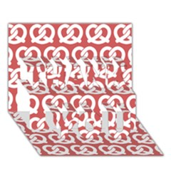 Trendy Pretzel Illustrations Pattern THANK YOU 3D Greeting Card (7x5)