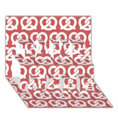 Trendy Pretzel Illustrations Pattern TAKE CARE 3D Greeting Card (7x5)
