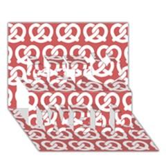 Trendy Pretzel Illustrations Pattern Get Well 3D Greeting Card (7x5)