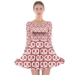 Trendy Pretzel Illustrations Pattern Long Sleeve Skater Dress