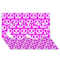 Pink Pretzel Illustrations Pattern Twin Hearts 3d Greeting Card (8x4)