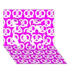 Pink Pretzel Illustrations Pattern LOVE 3D Greeting Card (7x5)