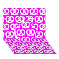 Pink Pretzel Illustrations Pattern Apple 3D Greeting Card (7x5)