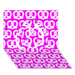 Pink Pretzel Illustrations Pattern Peace Sign 3d Greeting Card (7x5)