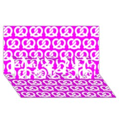Pink Pretzel Illustrations Pattern Best Sis 3d Greeting Card (8x4)