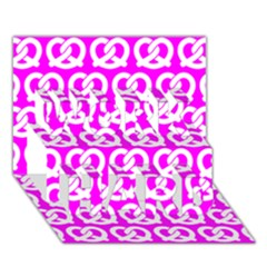 Pink Pretzel Illustrations Pattern WORK HARD 3D Greeting Card (7x5)