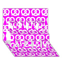 Pink Pretzel Illustrations Pattern TAKE CARE 3D Greeting Card (7x5)