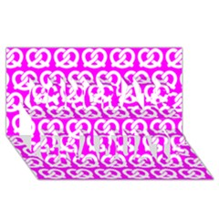 Pink Pretzel Illustrations Pattern Congrats Graduate 3d Greeting Card (8x4)