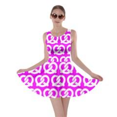 Pink Pretzel Illustrations Pattern Skater Dresses