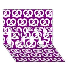 Purple Pretzel Illustrations Pattern Boy 3d Greeting Card (7x5)