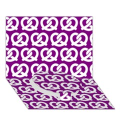 Purple Pretzel Illustrations Pattern Circle Bottom 3D Greeting Card (7x5)