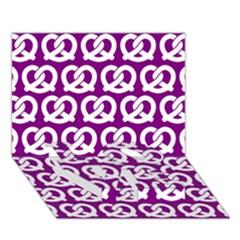 Purple Pretzel Illustrations Pattern LOVE Bottom 3D Greeting Card (7x5)