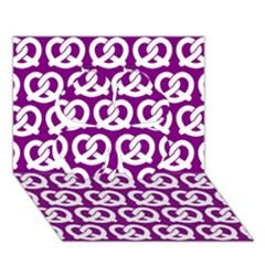Purple Pretzel Illustrations Pattern Clover 3D Greeting Card (7x5)